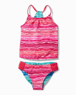 Big Girls'  Sunkissed Tropics Stripe Tankini Set