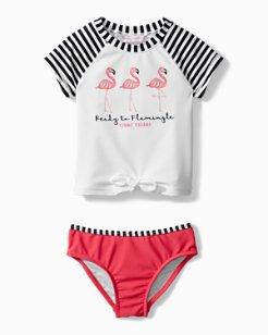 Big Girls' Flamingo Fun Rash Guard Set