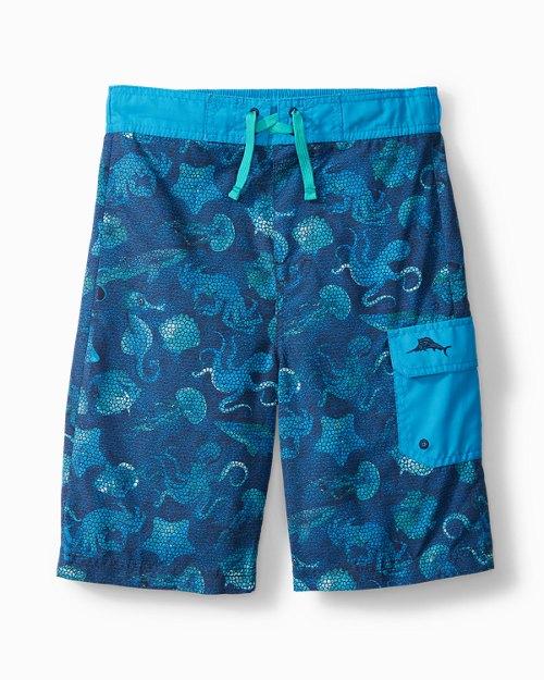 Big Boys' Swim Trunks With Sea Print