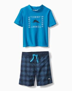 Little Boys' Tech & Caicos Swim Set