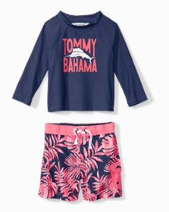 Little Boys' Palm Del Plaid Rash Guard Set