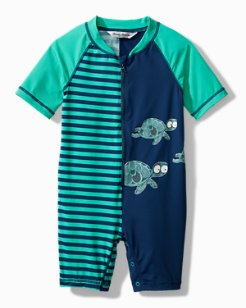 Infant One-Piece Rash Guard With Turtle Print