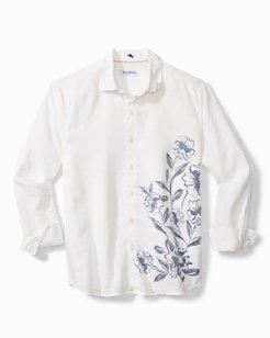 Ink Wash Floral Stretch-Linen Shirt