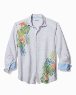 Gingham Blooms Stretch-Linen Shirt