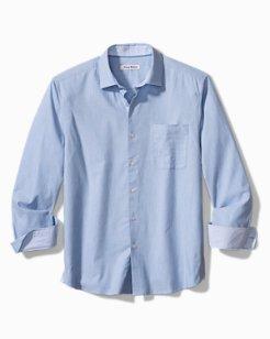 Heather Bay Herringbone Stretch-Cotton Shirt