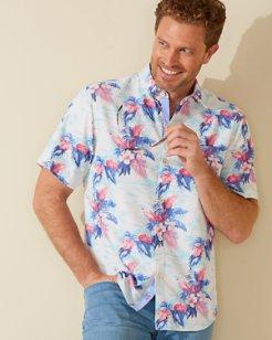 Coconut Point Tropical Print IslandZone® Camp Shirt