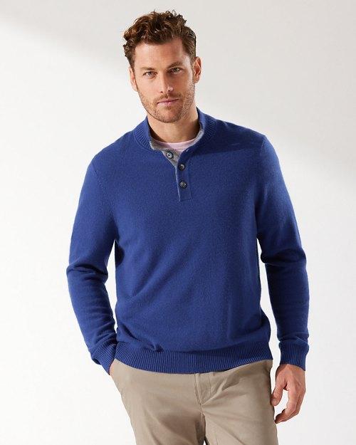Soft Sands Cashmere Button Mock Sweater