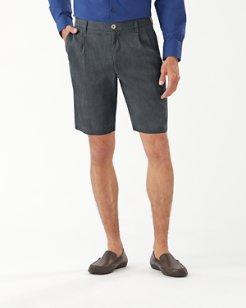 Havana Herringbone Pleated 10-Inch Shorts
