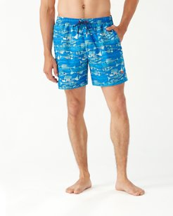 Naples Blue Fish Bay 6-Inch Swim Trunks