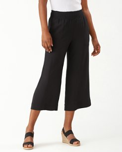 Caicos Crinkle Smocked Cropped Pants