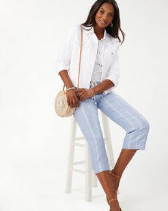 Silver Stripe Linen-Blend Cropped Pants