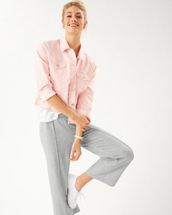 Silky Sands Wide-Leg Cropped Pants