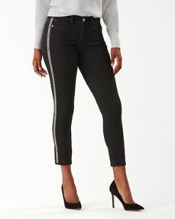 Tema Indigo High-Rise Sparkle Tux Ankle Jeans