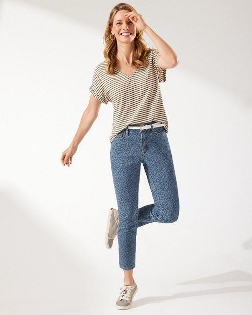 Boracay Indigo Spots Of Dots Denim High-Rise Ankle Jeans