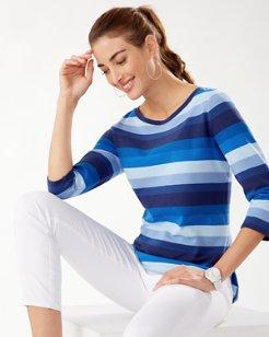 Away We Goa Stripe 3/4-Sleeve T-Shirt