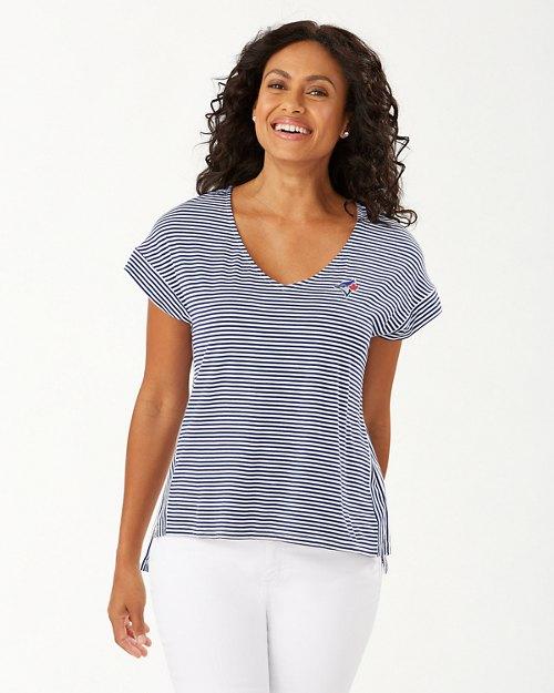 MLB® Cassia Stripe Sealight V-Neck T-Shirt