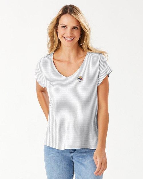 NFL Cassia Stripe Sealight V-Neck T-Shirt
