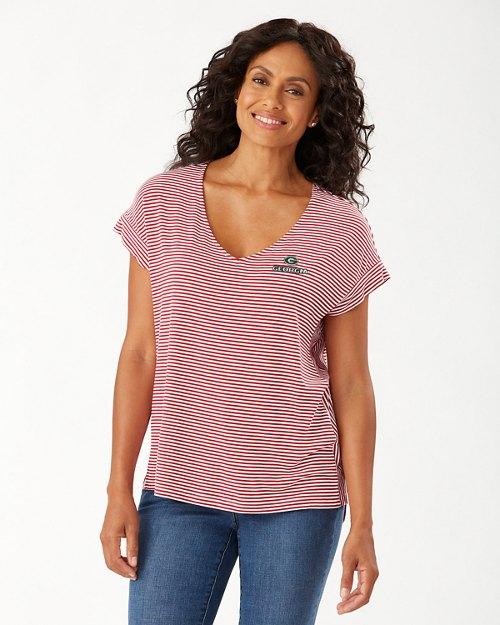 Collegiate Cassia Stripe Sealight V-Neck T-Shirt