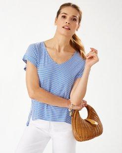 Cassia Stripe Sealight V-Neck T-Shirt
