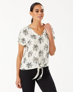 Toile Me Maybe Linen Tie-Front Top