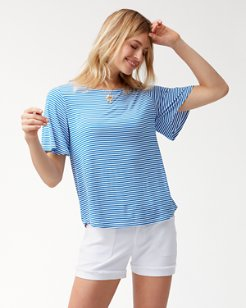 Sealight Flutter Sleeve Stripe Top
