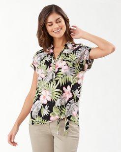 Linnea Bahama Blossoms Linen Camp Shirt