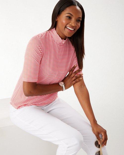 Aubrey IslandZone® Half-Zip Mock Stripe Shirt