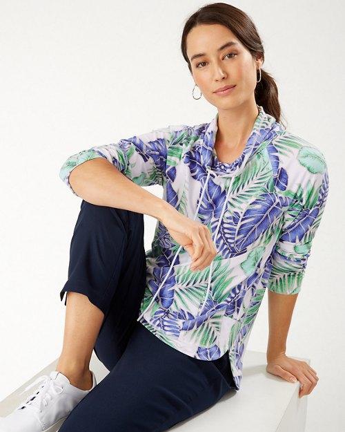 Ariana Coconut Palm IslandZone® Cowl-Neck Pullover
