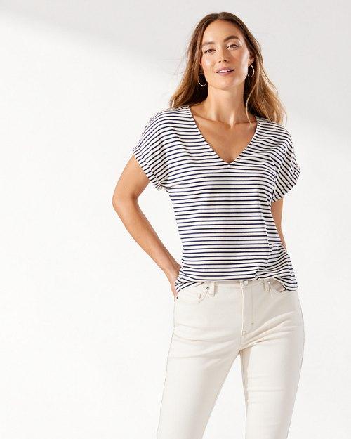 Kauai Shimmer Stripe V-Neck T-Shirt