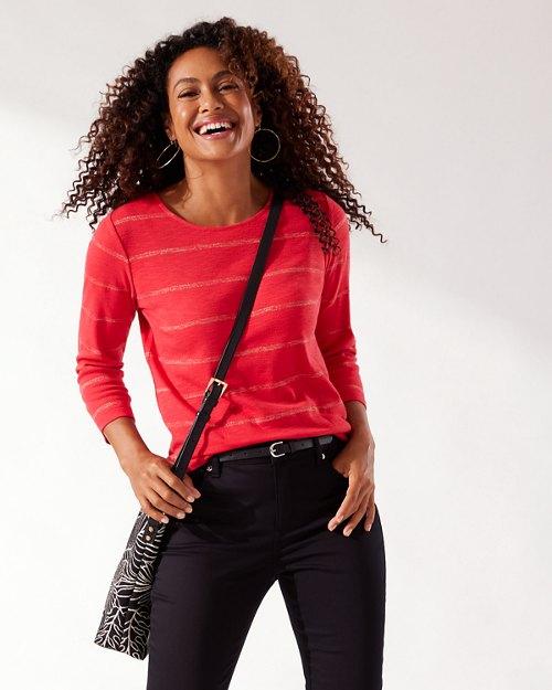 Ashby Metallic Stripe 3/4-Sleeve Shirt