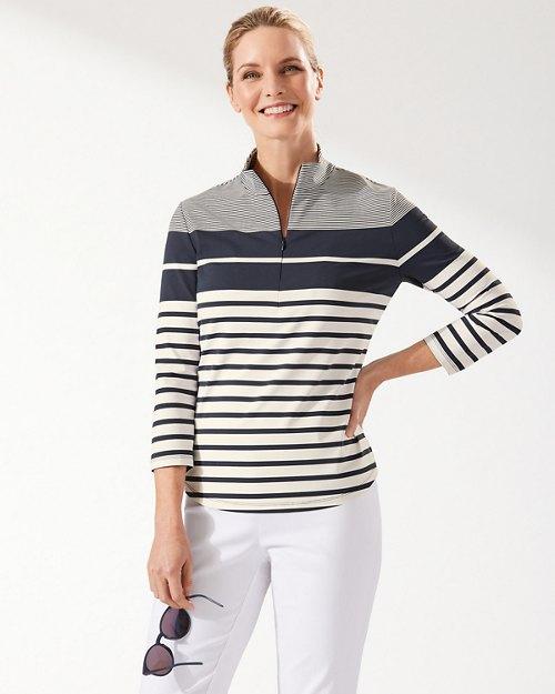 Aubrey Sydney Stripe IslandZone® Half-Zip Mock Top