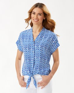 Tenali Tiles Tie-Front Silk Shirt