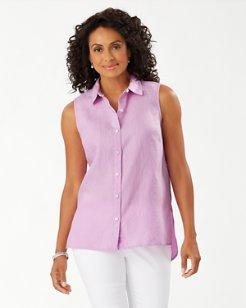 Coastalina Sleeveless Linen Shirt