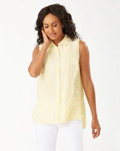 Coastalina Cabana Stripe Sleeveless Linen Shirt