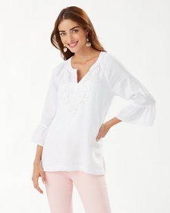 Dancing Diamond 3/4-Sleeve Linen Tunic