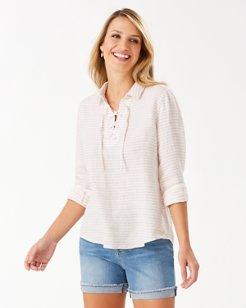 Dobby Llama Linen-Blend Lace-Up Shirt