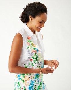 Coastalina Trailing Vines Sleeveless Linen Shirt