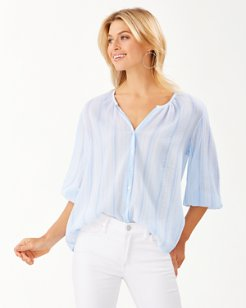 Lana Bay Gauze Stripe 3/4-Sleeve Top
