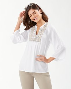 Blanc Dot 3/4-Sleeve Tunic