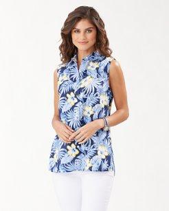 Bahama Blossoms Sleeveless Linen Shirt