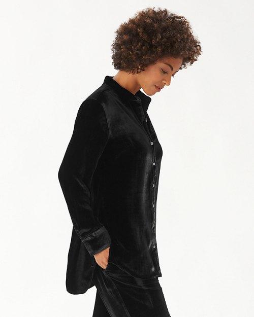 Velvet Sands Silk-Blend Long-Sleeve Shirt