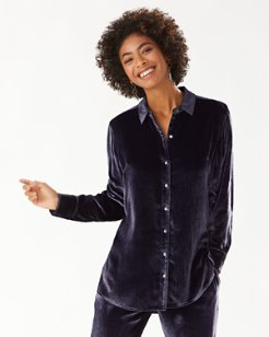 Velvet Sands Silk-Blend Long-Sleeve Shirt