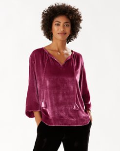 Velvet Sands Silk-Blend 3/4-Sleeve Top