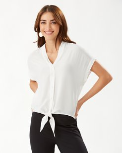 Tove Tie-Front Silk Shirt