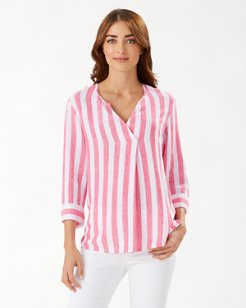 Light Stripes 3/4-Sleeve Linen-Blend Tunic