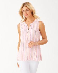 Vitamin Sea Stripe Linen Sleeveless Tunic