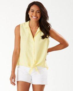 Coastalina Sleeveless Linen Camp Shirt