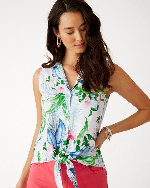 Flora Frond Sleeveless Linen Camp Shirt