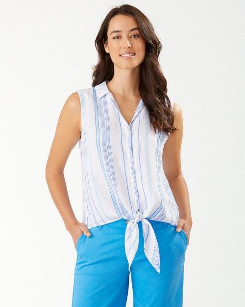 Aquatic Hues Sleeveless Linen Camp Shirt