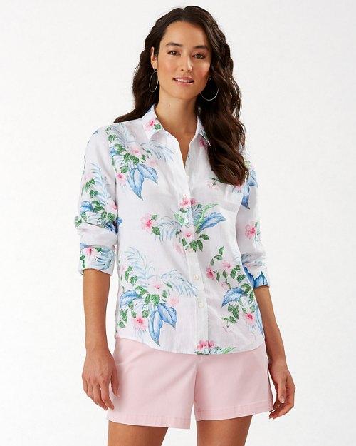 Flora Frond Long-Sleeve Linen Shirt